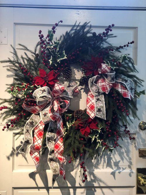 Ribbon Wreath Holiday Floral