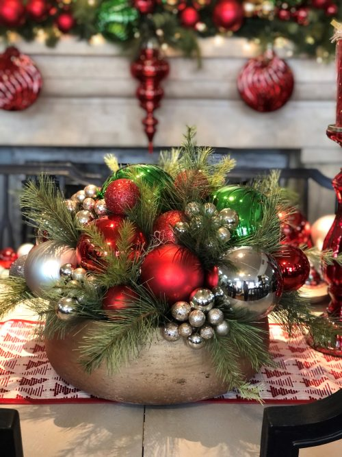 Ornament Centerpiece Holiday Floral
