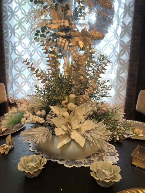 Mixed Pine Ceramic Centerpiece Holiday Floral