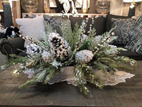 Snowy Pine Centerpiece Holiday Floral