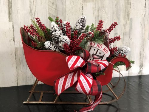 Large Red Sleigh Holiday Floral