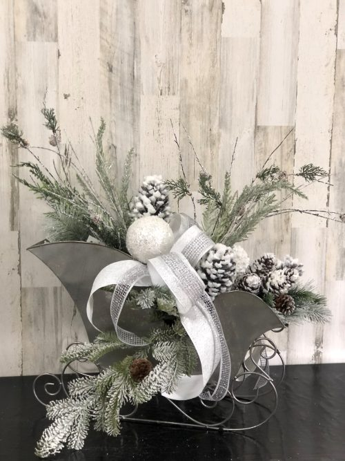 Silver Sleigh Holiday Floral