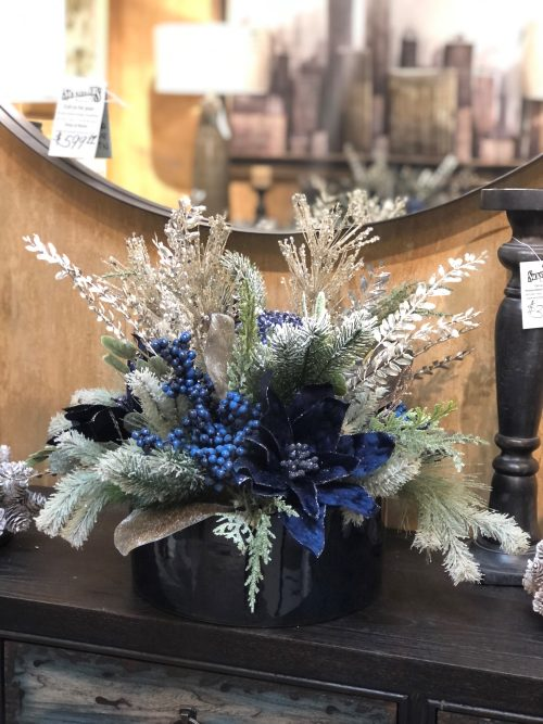 Blueberry Poinsettia Ceramic Holiday Floral