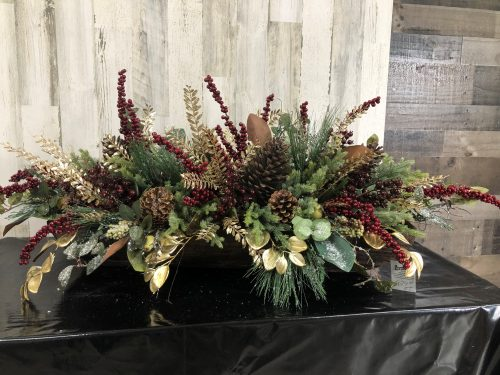 Burgundy and Gold Centerpiece Holiday Floral