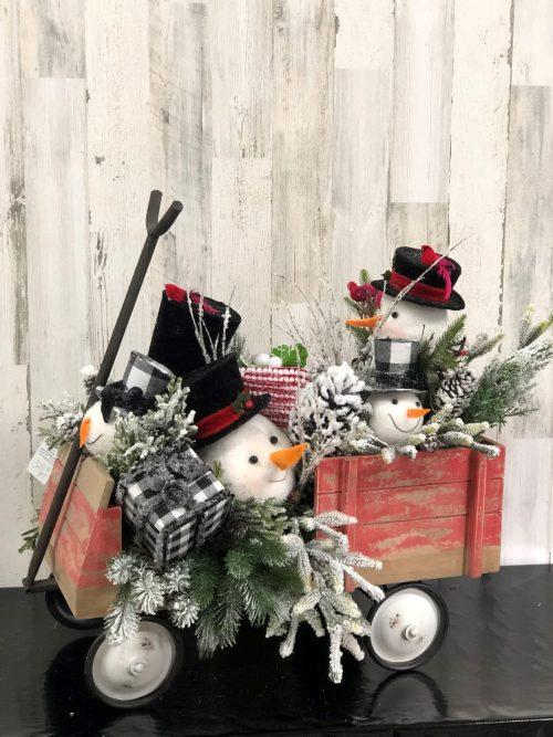 Snowman Wagon Holiday Floral