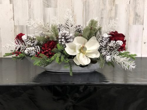 White and Red Centerpiece Holiday Floral
