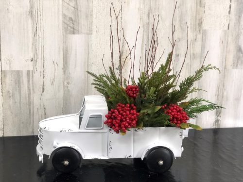 White Truck Centerpiece Holiday Floral