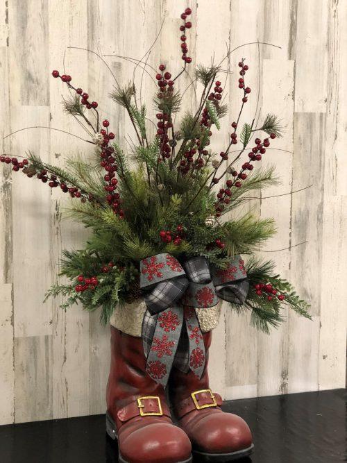 Santa Boots Holiday Floral