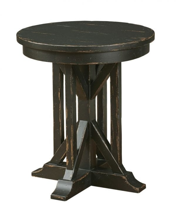 """22"""" JAMES ROUND END TABLE - ANVIL FINISH"""