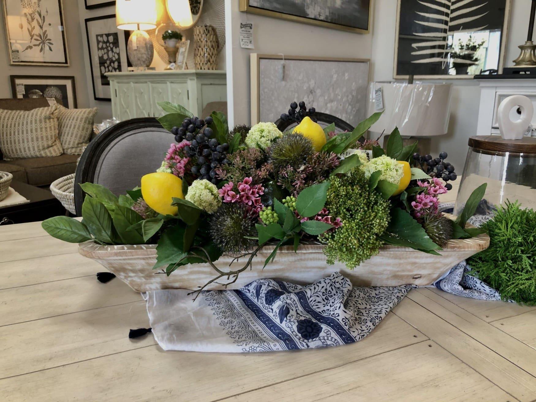 Lemon summer arrangement in wood dough bowl