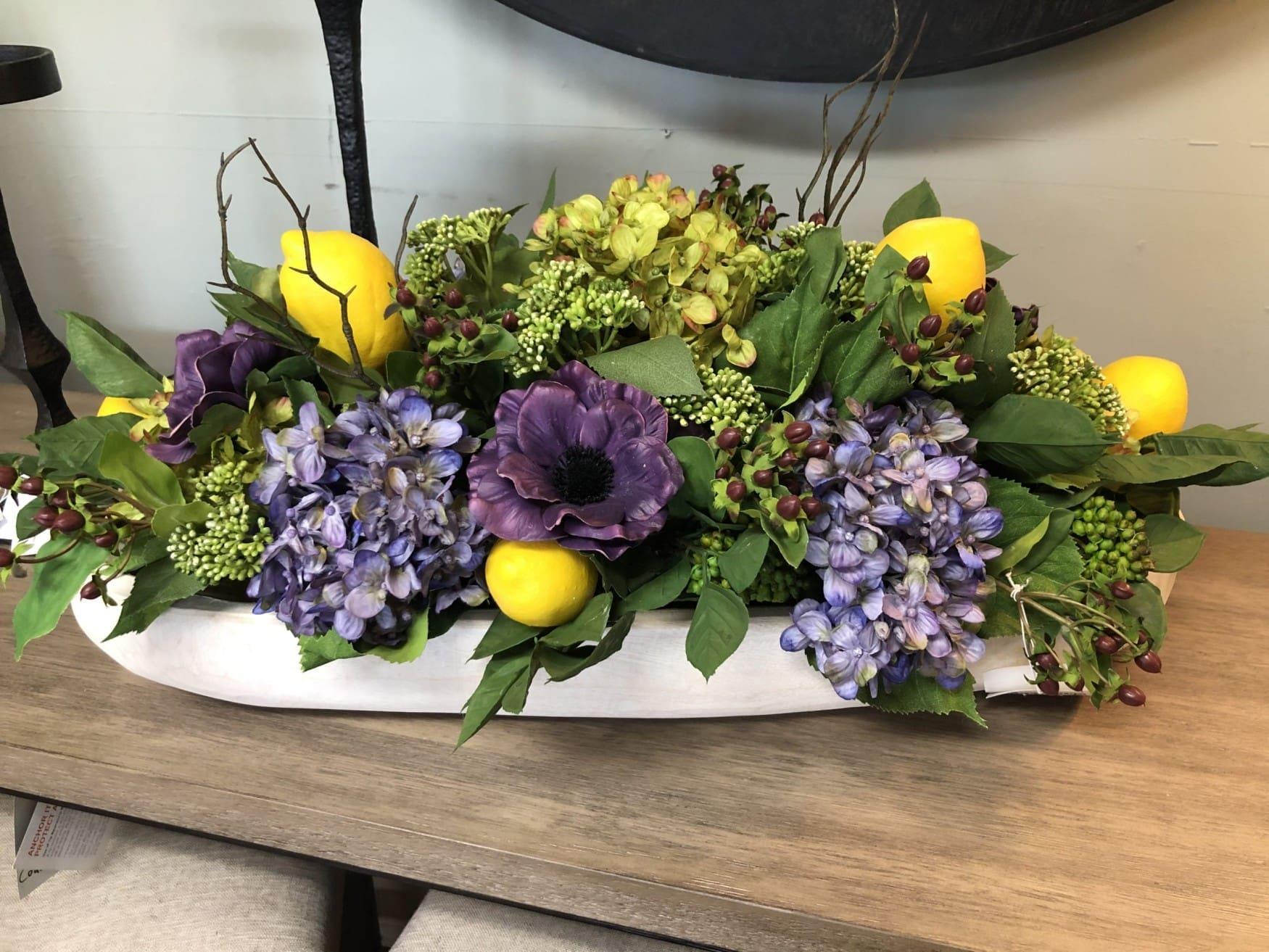 Lavender and lemon floral arrangement