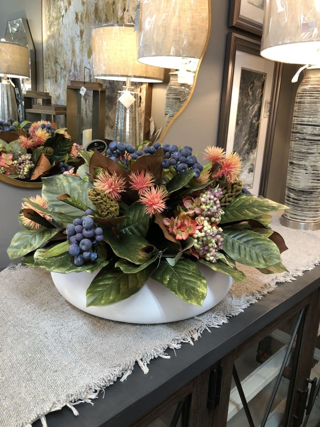 Blue berries and hydrangeas faux floral arrangement